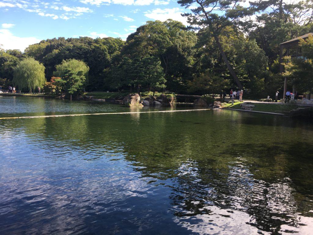 徳川園の絶景、ひろびろとした龍仙湖