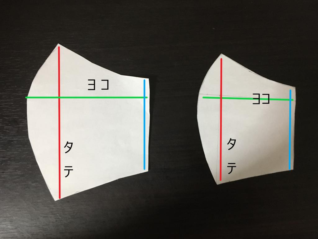 立体型布マスク手作り型紙